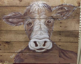 Hand painted farm animals on Pallet Wood