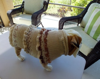 "Dog Sweater Hand Knit English Bulldog Sadi 18.5"" long"
