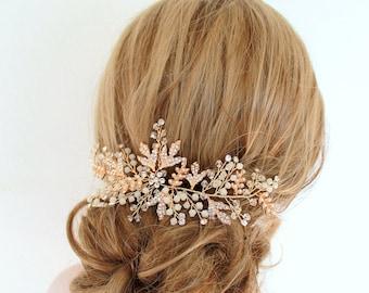 Gold Leaf Vine Opal Pearl Bridal Headpiece. Gold Ethereal Delicate Swarovski Crystal Boho Wedding Headband. Bridal Hair Piece. ELSA