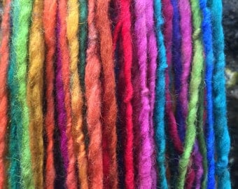 Handspun Art Yarn 'Glitter Rainbow' - Self striping single ply aran - Hand dyed organic wool firestar sparkle Giant Skein Handmade TO ORDER