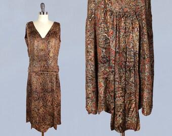 RARE!! 1920s Dress / 20s Metallic Lamé Dress / Paisley Print Antique Gold LAMÉ