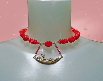 Odd Beaded Choker Necklace, OOAK Handmade with Vintage, Adjustable Red Choker, Wife Red Jewelry, Unusual Jewelry for Women in Gift Box