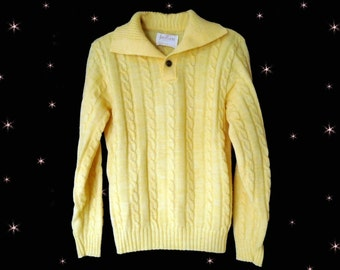 Mens Yellow Pullover, 60s Sweater for Men, Yellow Cable Knit Sweater, Beach Boys Style, Vintage Jantzen Sweater for Him, Mens Sweater 2017