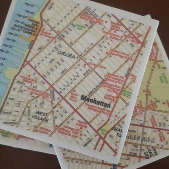 Map Coasters - NYC Street Map Coasters...Set of 4...For Drinks or Candles...Full Cork Bottoms NOT Felt