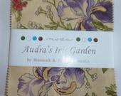 Moda Charm Square - Audra's Iris Garden quilting fabric by Brannock & Patek PP2100