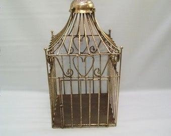 Vintage Metal Bird Cage, Decorative Metal Bird Cage, Rustic Shabby Chic Bird Cage, Vintage Hanging Bird Cage, Bird Cage Planter,