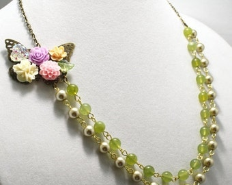 SALE Shabby Pearl and Jade Necklace Bridal Necklace Vintage Style Jewelry Butterfly Flower Asymmetrical Bridesmaid Necklace
