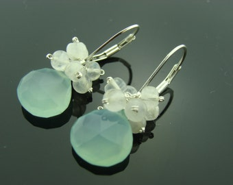 Aqua Chalcedony and Rainbow Moonstone Sterling Silver Leverback Earrings