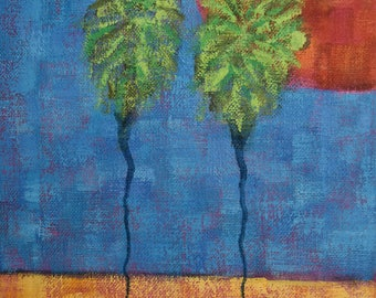 Palm Tree Art...8x10 Painting...Small Canvas...Original Art...Ready to Hang