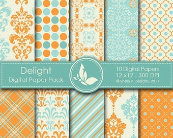 40% off Delight Paper Pack - 10 Digital papers - 12 x12 - 300 DPI
