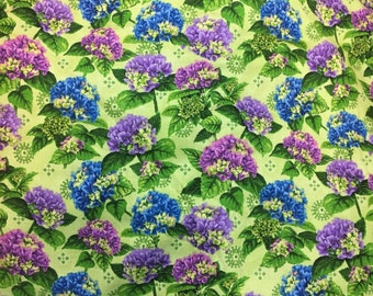 5 yards  purple blue floral cotton lilac