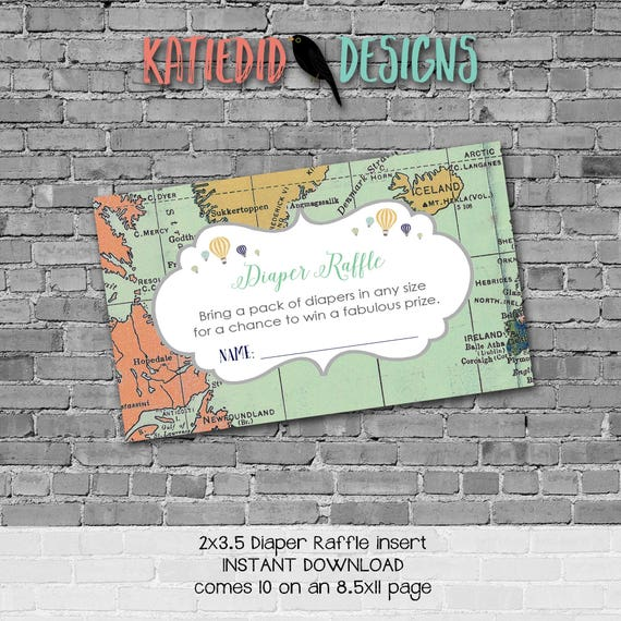 Diaper raffle INSTANT DOWNLOAD item 1466 insert enclosure card adventure awaits world map hot air balloons diaper and wipes raffle card