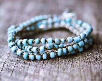 Turquoise Bracelet - Boho Wrap Bracelet - Beaded Bracelet - Boho Bracelet - Boho Jewelry - Bohemian Jewelry - Stackable Bracelet - Torquoise