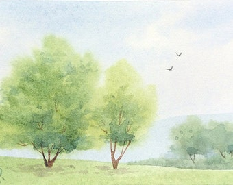Original watercolor ACEO painting - Fluffy trees