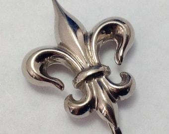 Vintage Sterling Fleur de Lis Watch Pin FREE SHIPPING