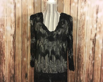 VTG Pure Silk Beaded Sheer Blouse Black Silver Keyhole Back Size M 3/4 Sleeve