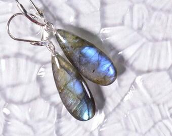 gemstone labradorite earrings long teardrops gemstone earrings drops gray blue flash sterling silver , Birthstone Earrings