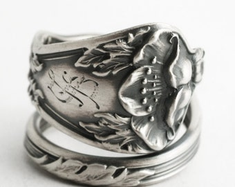 Poppy Ring, Sterling Silver Spoon Ring, Art Nouveau Ring, California Poppy, S, Poppy Flower Jewelry, Adjustable Ring Size, Manchester (6609)