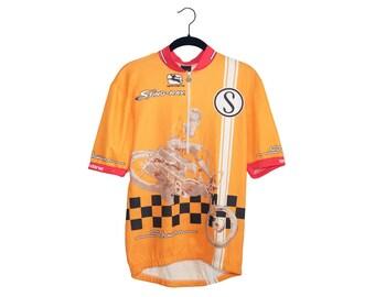 Vintage Giordana Schwinn Sting-Ray Bright Orange Cycling Shirt, Made in Italy - Small