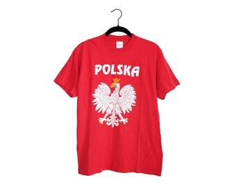 Vintage POLSKA Polish Crest Bright Red Crewneck 100% Cotton T-Shirt - Small