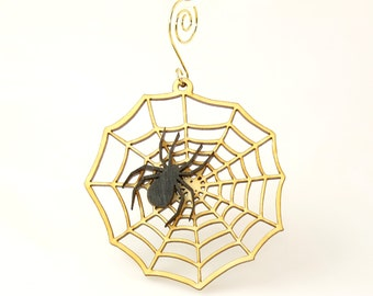 Spider Web Wood Ornament