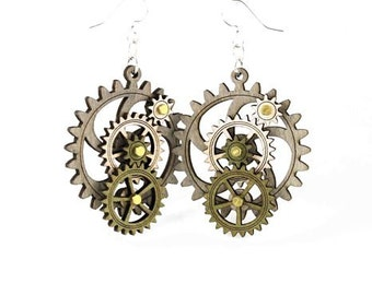 Kinetic Gear Earrings - 5003D