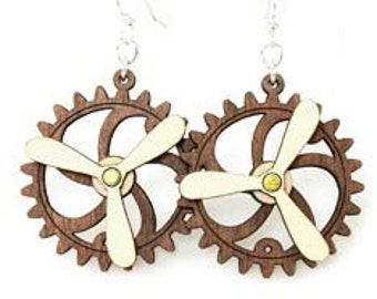 Spinning Propeller Gear Earrings - Laser Cut from Reforested Wood