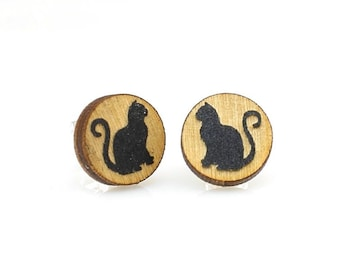 Cat Studs -  Laser Cut Earrings from Reforested Wood