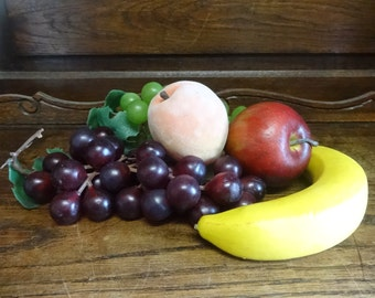 Vintage French fruit banana apple peach grapes artificial plastic display faux fake circa 1970-80's / English Shop