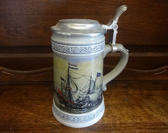 Vintage French ceramic metal lidded beer ale stein tankard French warships galleons circa 1990s / English Shop