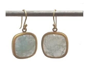 Aquamarine Earrings Set in 22k Gold