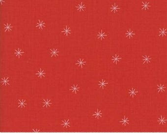 Merrily Snowy Stars Berry Red 48213 22 by Gingiber for Moda