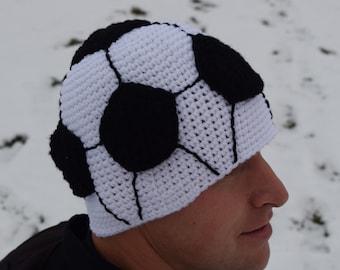 soccer hat//men's//crochet//soccer ball//soccer beanie//23 inches