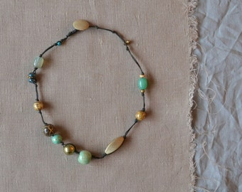 necklace with seafoam and gold beads - boho beaded necklace - large brown gold aqua beads necklace - knotted chunky necklace - gypsy style