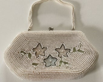 Vintage Beaded Ivory Evening Bag, Wedding Accessory,  Prom, Bride, Bridesmaid,  Maid of Honor, FREE SHIPPING USA