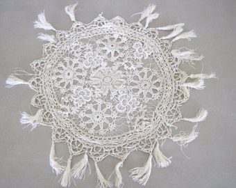 Beautiful Antique French Lace Doily for Rework or Repair