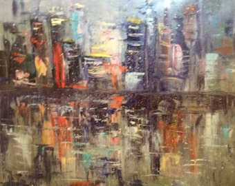 City at night Painting  abstract original art large painting 30 x 30""