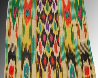 Amazing Vintage black  Atlas Ikat,  Dress Decor fabric, 100% silk Original Uzbek handcrafted 3yard  7 ench