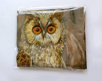 Funny gift, scarf with owl, khaki silk scarf, eco printed leaves, moon, beautiful silk painting, night landscape with stars and cute owl
