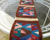Mid Century Modern Woven Wool Fish Table Runner or Wall Hanging, Mod Home Decor