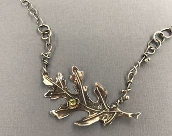 Sterling Silver Cut Oak Leaf with  Faceted Peridot | Handmade Chain| 110.00 | Reclaimed Silver | Eco Friendly | 160.00 Metalsmith