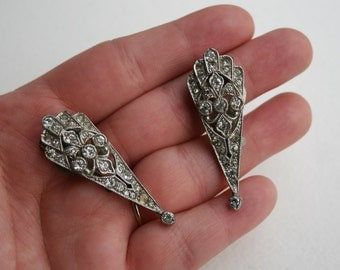 Vintage Art Deco Pave Rhinestone Dress Clips Pot Metal 1930s