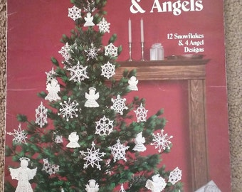 Crochet Snowflakes & Angels, Leisure Arts, Leaflet 255, Vintage dated 1983, 12 Snowflakes and Angel Designs, Christmas, Ornaments, OFG