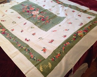 Vintage Tablecloth linen mix with awesome drape lovely colors PERFECT CONDITION