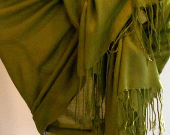 Pashmina,Olive green Pashmina,Green Shawl,Solid color Pashmina shawl, Bridesmaid Gift,Scarves,Shawls,Gift for Her ,Wedding wrap