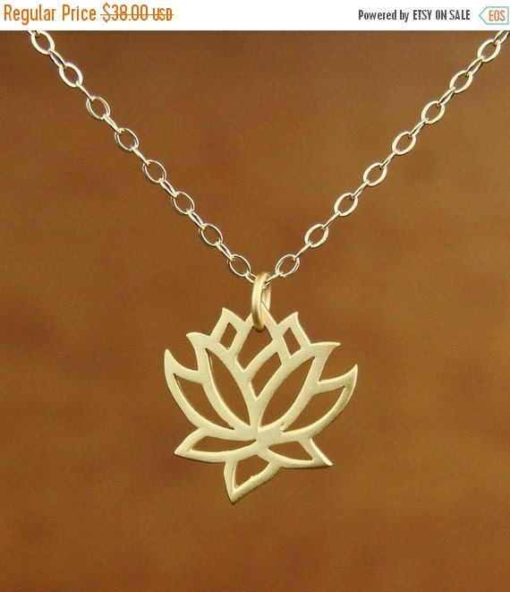 SALE - Gift Necklace Lotus Pendant Necklace in Gold, bridesmaid gift, wedding necklace,Mother's Day Gifts,