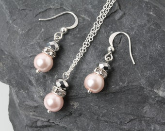 Pink and grey Bridesmaid jewelry set, pearl and crystal earrings and necklace set, pink and grey wedding Jewelry, bridesmaid gift