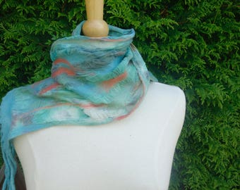 silk nuno felted scarf fringed scarf blue green coral scarf summer scarf colours of the sea scarf light weight scarf