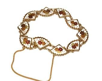 Vintage Cloisonne Enamel Fan Link Bracelet