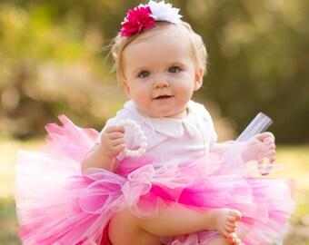 Pink Baby Tutu with Flower Headband, Newborn Tutu, Newborn Photo Prop, Weddings, Pink Tutu, 1st Birthday Tutu, Pink Tutu Set, Shabby Tutu